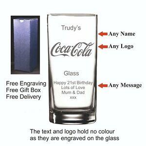 Personalised Hi Ball, Coca-Cola Glass, Birthday, Christmas, Valentines Day Gift
