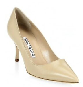 NEW Manolo Blahnik BB 70 Leather Pumps Size 7/37, Nude