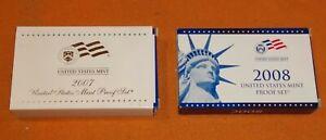 Lot Of 2 USA Mint Proof Sets 2007 & 2008 With Box & COA