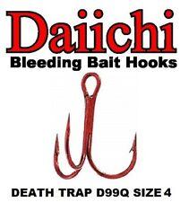 Daiichi Replacement Treble Hooks D99Q Light Wire Death Trap Bleeding Red Size 4