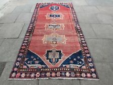 Vintage Worn Hand Made Traditional Oriental Wool Pink Large Long Rug 275x135cm