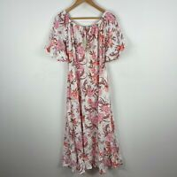Iris Maxi Womens Dress 10 Multicoloured Floral Short Sleeve Maxi Boho