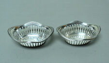 PAIR VINTAGE STERLING SILVER NUT DISHES, PIERCED/RETICULATED DECORATION