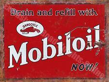 Mobiloil Gargoyle, 142 Vintage Garage Motor Oil Old Advert, Small Metal/Tin Sign