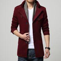 Men's Wool Blend Single Breasted Long Trench Coat Slim Fit Jackets Outwear Parka