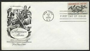 #1252 5c American Music, Artmaster-Addressed FDC ANY 4=