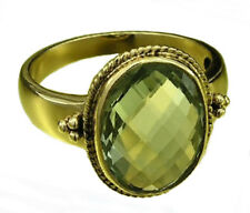 s R277 Genuine 9K Solid Yellow Gold Natural Large GREEN AMETHYST Ring size O