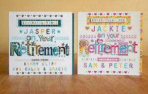 Retirement card personalised male female RETIREMENT card retire leaving card