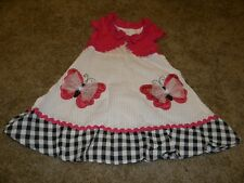 Girl Short Sleeve Dress by Youngland size 4 with pink butterfly accent