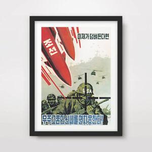 NORTH KOREAN KOREA PROPAGANDA POSTER Art Print Nuclear Weapons Missile Attack