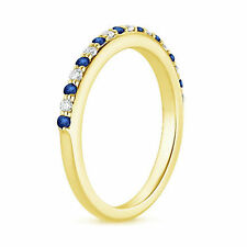 Natural Diamond 0.45 Ct Blue Sapphire Rings 14K Solid Yellow Gold Gemstone Band