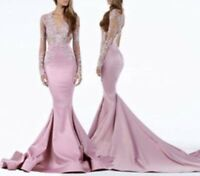 Size 4 Brand New Beaded Pink Long Train  Prom Dress Pageant Evening Gown