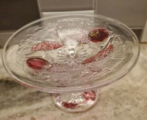 """Vintage Small Clear Glass With Cranberry Accent Compote/Candy Dish 3.75"""" Tall"""