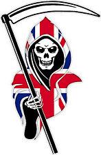 Racing Grim Reaper Skull Union Jack Car Vehicle Van Truck Sticker Small