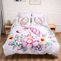 Unicorn White Quilt Doona Duvet Cover Set Single/Double/Queen/King Size Bedding
