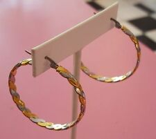 Stunning Twisted Stainless Two Tone Metals Shades 1.5 inch USA Hoop Earrings
