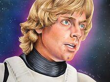 Luke Skywalker Dibujo Original. arte Ventilador A4. Mark Hamill Stormtrooper De Star Wars
