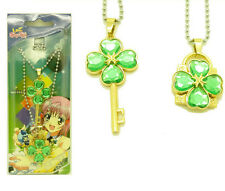 Anime Shugo Chara Key+Lock Necklace Cosplay Forever Love Pendant 2Pcs/Set Green