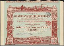 RUSSIA, Cie. Charbonnages de Pobendenko, 500 franc share, 1908