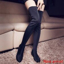 Women's Stretchy Over The Knee High Boots Flats Pull On Cloth Boots Size