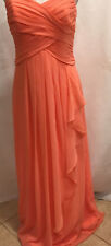 David's Bridal Coral Bridesmaid Prom Dress Gown Maxi Formal Sleeveless Size 8