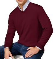Club Room Mens Sweater Plum Red Size Medium M Pullover Wool V-Neck $75 #018