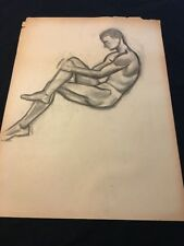 VINTAGE 1930s Chester Snowden Male NUDE FIGURE STUDY CHARCOAL DRAWING SKETCH
