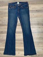 True Religion Joey Big T Twisted Seam Boot Cut Denim Blue Jeans Women's Size 28
