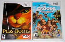 Nintendo Wii Game Lot - DreamWorks Puss in Boots (New) The Croods (New)