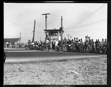 N117 1960'S NEGATIVE...DRAG RACING NHRA,GROUP OF MOTORCYCLE RIDERS IN FONTANA CA