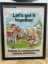 "1990 Bill Keane Family Circus Team Work Framed Poster ""Failing To Communicate�"