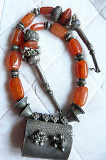 Antique Sterling Silver Carnelian Necklace, Rajasthan, India w. Taviz Pendant
