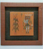 """Navajo Female Tile Sand Art  """"Seed Blessing"""" Note Back - Vintage"""