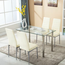 Uenjoy Glass Dining Table With 4 Chairs Set (30501071)