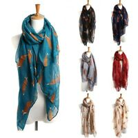 Fashion Womens Fox Penguin Print Design Soft Scarf Wrap Animal Fashion Large New