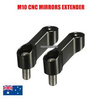 Black CNC 10mm Mirror Extension Riser Adapter Yamaha MT 09 07 FZ VMAX 1700 FAZER