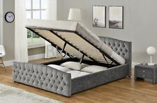 Chesterfield Ottoman Storage Bed in Silver Crush Or Chenille Upholstered Fabric