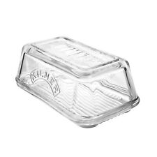Kilner Vintage Clear Glass Butter Dish Serving Tray with Lid and Embossed logo