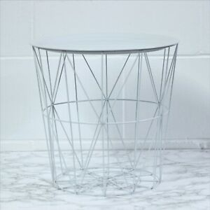 White Round Metal Tray Side End Table Geometric Storage Basket Home Furniture