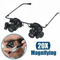 20(X) Mag Eyeglass Loupe Glasses & LED Watchmakers Magnifier Watch Repair Loupes