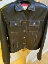 Ladies Peter Millar Black Leather Coat - Size M
