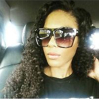 """Large Oversized Sunglasses Huge Flat Top Brown """"Lauren"""" Men Women Style"""