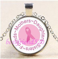 Breast Cancer Awareness Cabochon Glass Tibet Silver Chain Pendant Necklace#CA66