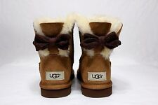 UGG MINI BRIGETTE KNIT BOW CHESTNUT SHEEPSKIN BOOTS SIZE 7 US