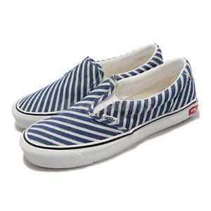 Vans Classic Slip-On T Blue White Stripe Men Unisex Casual Shoes VN0A4UUD2Q5