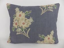 Busby Petit Jardin Fabric Lumbar Pillow Cushion Scatter Denim Blue Linen Floral