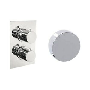 Concealed Dual Control Thermostatic Shower Valve & Freeflow Bath Filler with Pus