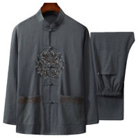 Chinese Style Men's Cotton&Linen Martial Arts Clothing Kung Fu Tang Tai Chi Suit