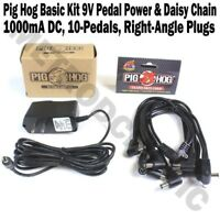 Pig Hog Basic Kit 9V Pedal Power & Daisy Chain 1000mA 10-pedals right angle NEW