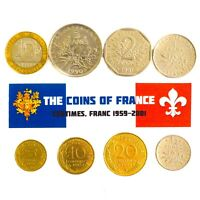 FRANCE SET OF 8 COINS: 5, 10, 20 CENTIMES 1/2, 1, 2, 5, 10 FRANCS FRENCH COIN